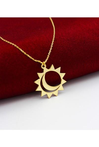 Silver & Silver 925 Ayar Gümüş Altın Kaplama Ay Güneş Kolye