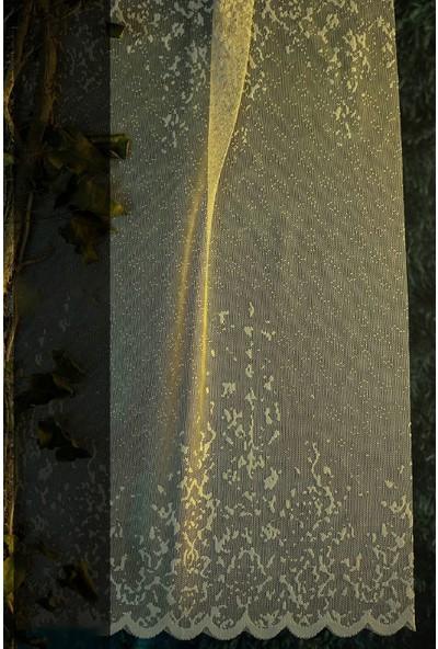 Evdepo Home Nilüfer Örme Tül Perde Ekstraforlu Pilesiz - Ekru 210 x 200 cm