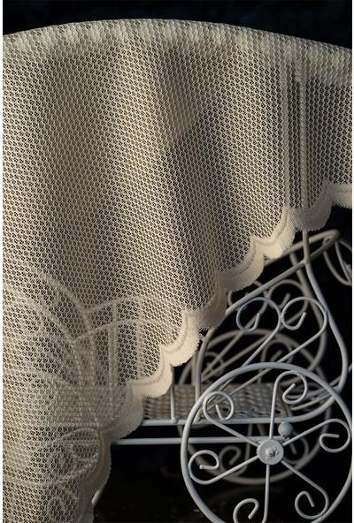 Evdepo Home Nergis Örme Tül Perde 1/3 Sık Pile Pile - Ekru 160 x 270 cm
