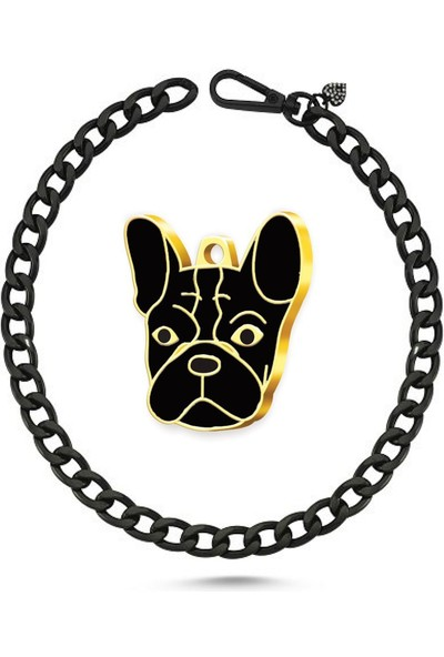 The Passage Köpek Kolyesi Siyah-Altın Kaplama French Bulldog Künye