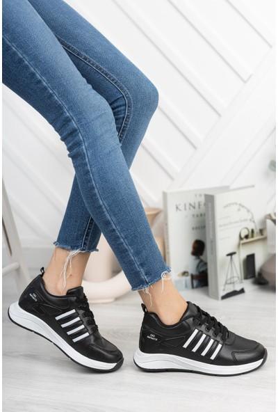 Unisex Beyaz Siyah Spor Ayakkabı