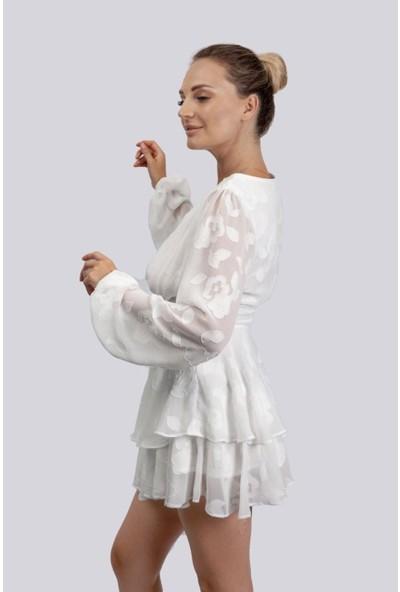 Zaden Beyaz Şifon Elbise