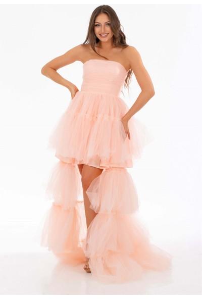 Carmen Pudra Tül Fırfırlı Uzun Abiye Elbise
