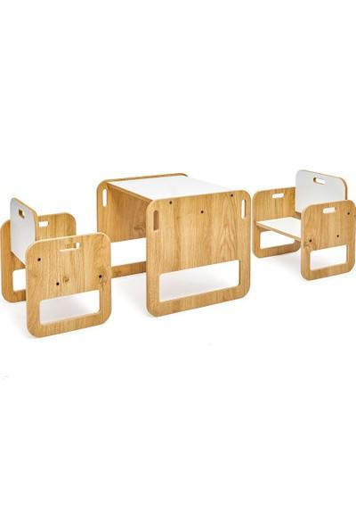 Minera 0-18 Ay Serçe Ahşap Montessori Çocuk Oyun, Çalışma ve Aktivite Masası ve Sandalyesi Seti