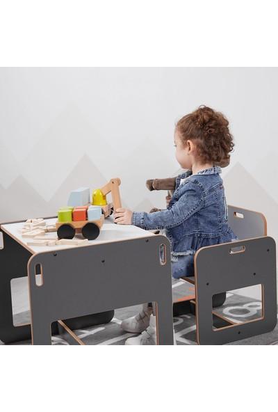 Minera 2-4 Yaş Kumru Ahşap Montessori Çocuk Oyun, Çalışma ve Aktivite Masası ve Sandalyesi / Antrasit