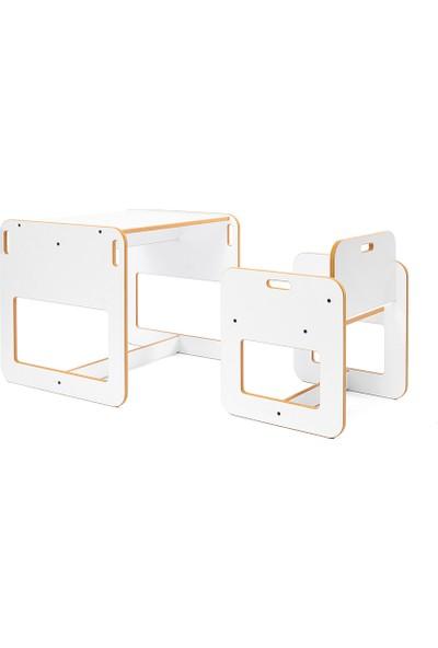 Minera 2-4 Yaş Kumru Ahşap Montessori Çocuk Oyun, Çalışma ve Aktivite Masası ve Sandalyesi / Beyaz