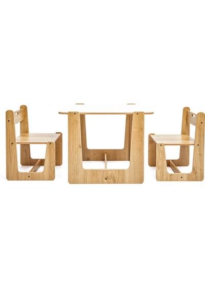 Minera 2-4 Yaş Turna Ahşap Montessori Çocuk Oyun, Çalışma ve Aktivite Masası ve Sandalyesi Seti