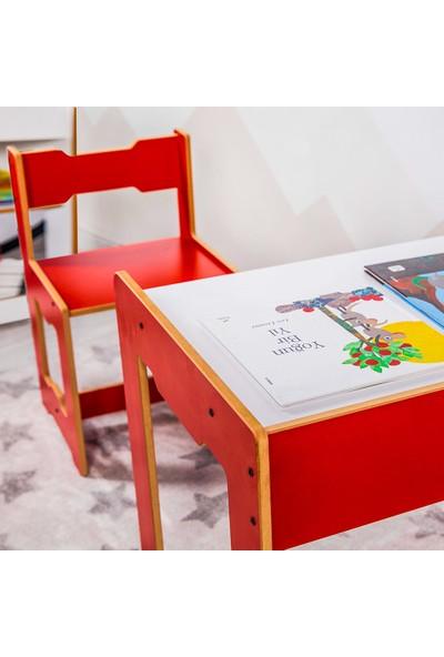 Minera 4-6 Yaş Martı Ahşap Montessori Çocuk Oyun, Çalışma ve Aktivite Masası ve Sandalyesi / Kırmızı