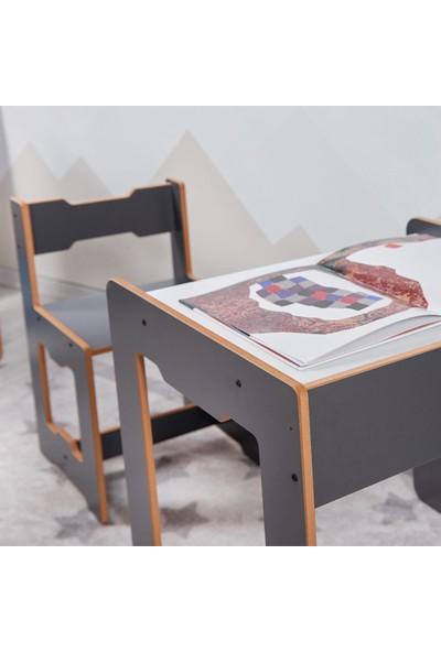 Minera 4-6 Yaş Martı Ahşap Montessori Çocuk Oyun, Çalışma ve Aktivite Masası ve Sandalyesi / Antrasit