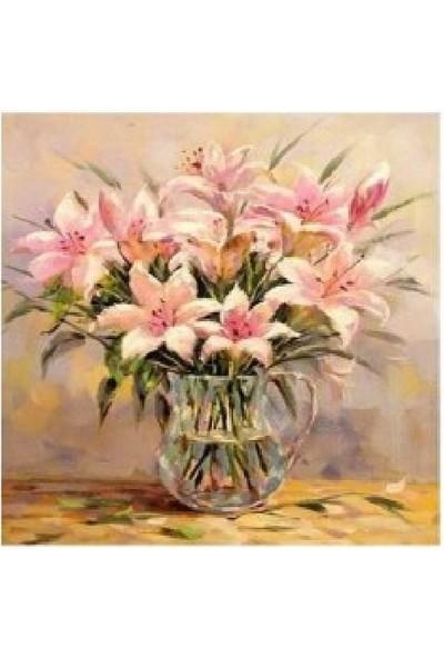 Art Liva Sayılarla Boyama Hobi Seti Tuvalli 40X50 cm Pembe Çiçekler