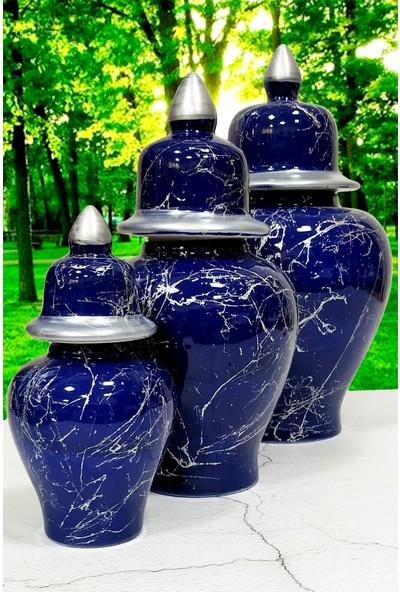 Otogar Çini 3'lü Mermer Desenli Seramik Salon Konsol Şah Küp Takımı- Lacivert Renk-Gümüş Yaldızlı