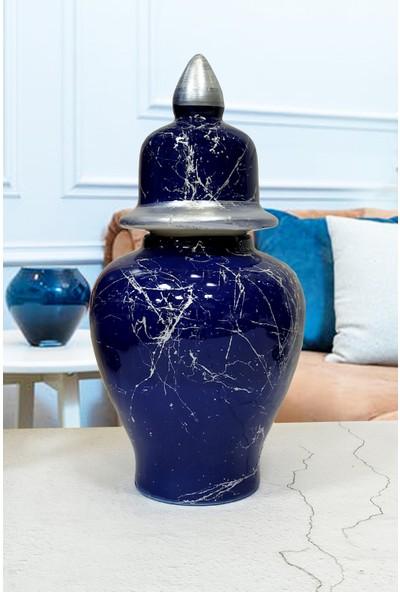 Otogar Çini 3'lü Mermer Dekorlu Seramik Salon Konsol Seti 2 Ibrik 1 Küp-Lacivert Renk-Gümüş Yaldızlı