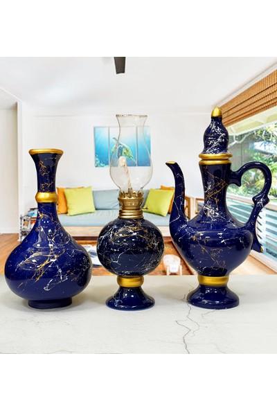 Otogar Çini 3'lü Mermer Dekorlu Seramik Salon Konsol Seti Vazo-Gazlambası-Ibrik -Lacivert Renk-Gold Yaldızlı