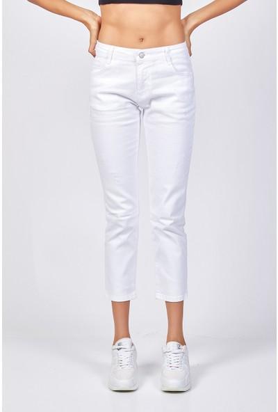 Coral Yırtık Detaylı Kot Pantolon Beyaz