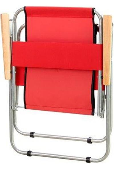 Byeren Ağaç Kollu Katlanır Plaj, Piknik & Kamp Sandalyesi 2'li Set Kırmızı