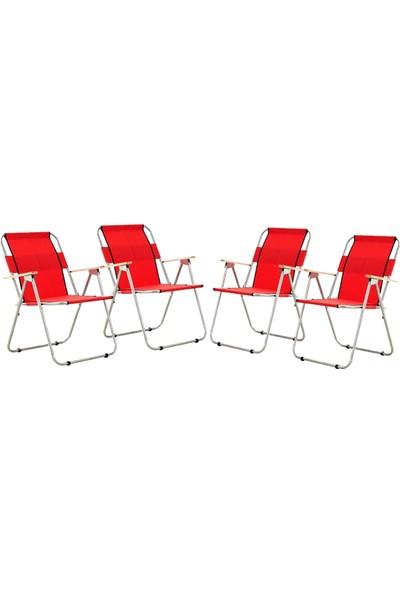 Byeren Ağaç Kollu Katlanır Plaj, Piknik & Kamp Sandalyesi 4'lü Set Kırmızı