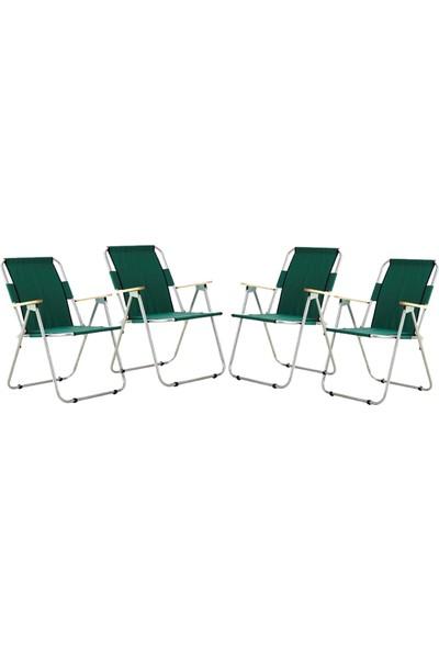 Byeren Ağaç Kollu Katlanır Plaj, Piknik & Kamp Sandalyesi 4'lü Set Yeşil