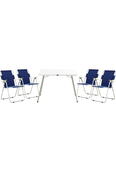 Byeren Piknik Seti - 4 Adet Ağaç Kollu Kamp Sandalyesi Lacivert - 60 x 80 cm Masa Beyaz