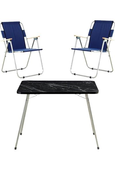 Byeren Piknik Seti -2*ağaç Kollu Piknik Sandalye Lacivert- 60*80 Piknik Masa Granit Siyah