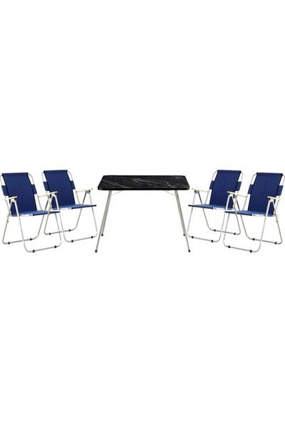 Byeren Piknik Seti -4*Ağaç Kollu Piknik Sandalye Lacivert- 60*80 Piknik Masa Granit Siyah
