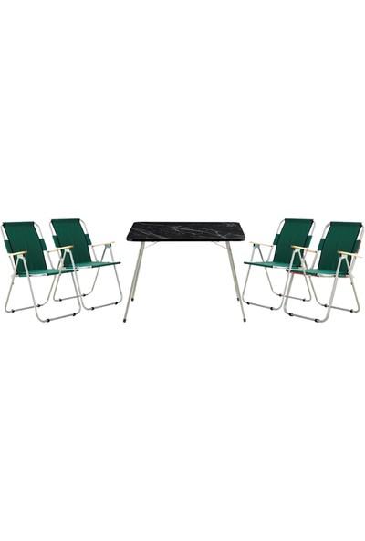 Byeren Piknik Seti -4*Ağaç Kollu Piknik Sandalye Yeşil- 60*80 Piknik Masa Granit Siyah