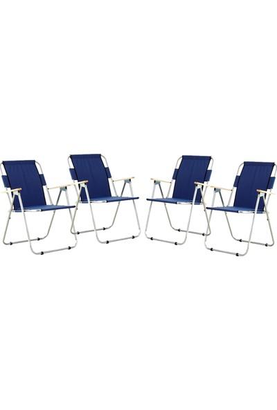 Byeren Ağaç Kollu Katlanır Plaj, Piknik & Kamp Sandalyesi 4'lü Set Lacivert