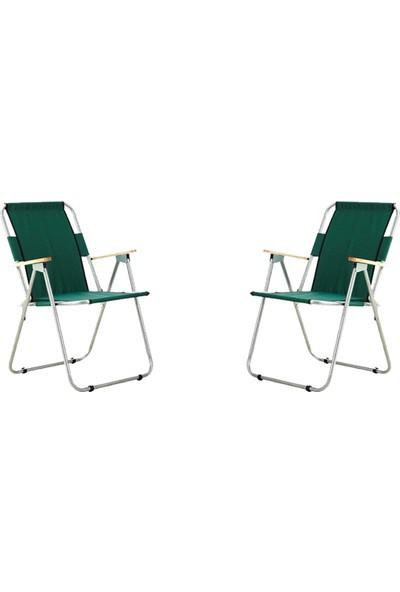Byeren Ağaç Kollu Katlanır Plaj, Piknik & Kamp Sandalyesi 2'li Set Yeşil