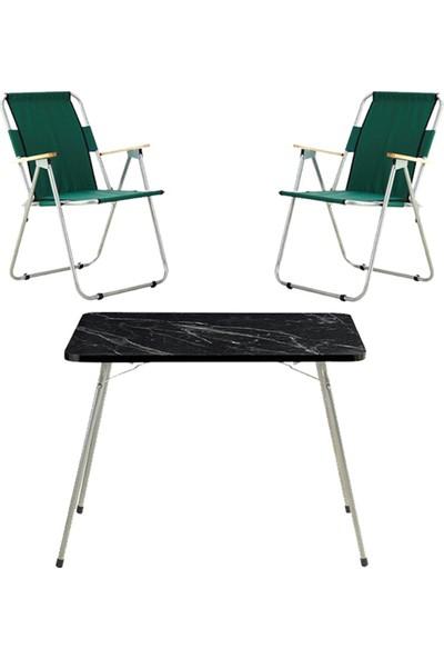 Byeren Piknik Seti -2*ağaç Kollu Piknik Sandalye Yeşil- 60*80 Piknik Masa Granit Siyah