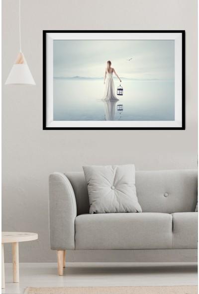 Kate Louise 3 Boyutlu Gerçek Çerçeveli Paspartu Görünümlü 40 x 60 cm Mdf Tablo
