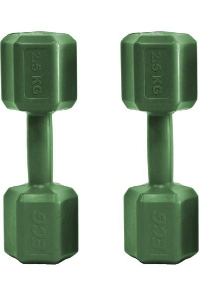 Ecgspor 2.5 kg Dambıl Seti 2.5 kg x 2 Toplam 5 kg Ağırlık Seti Yeşil