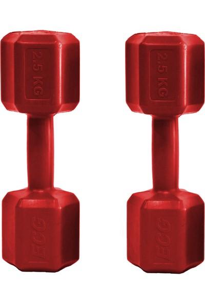 Ecgspor 2.5 kg Dambıl Seti 2.5 kg x 2 Toplam 5 kg Ağırlık Seti Kırmızı