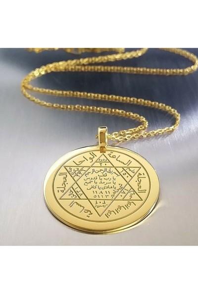 Gökdeniz 925 925 Ayar Altın Kaplama Hz. Süleyman Mührü Gümüş Kolye