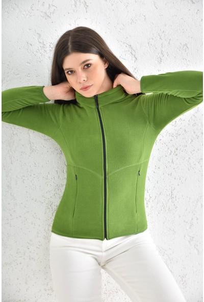 Trender 7012 Tam Fermuar Polar Kadın Sweat Yeşil