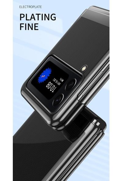 Eabhulie Samsung Galaxy Z Flip 3 5G İçin İnce Kaplama Frame Açık Korumalı Kılıf Kapaklı Altın Gül (Yurt Dışından)