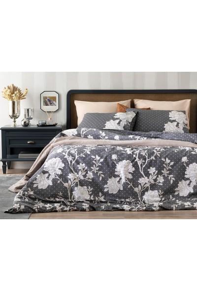 English Home Dark Rosery Pamuklu Çift Kişilik Nevresım Setı 200X220 cm Antrasit