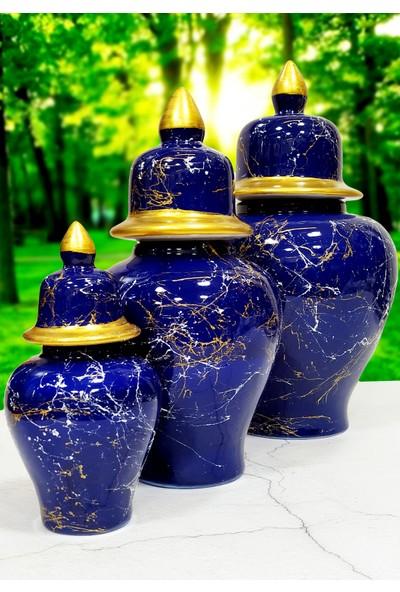 Otogar Çini 3'lü Mermer Desenli Seramik Salon Konsol Şah Küp Takımıseti Lacivert Renk-Gold Yaldızlı