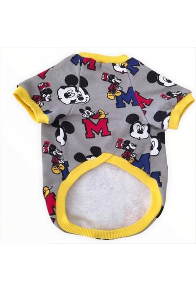 Kemique Mickey Yellow Oval Yaka Tişört Kedi Kıyafeti Kedi Elbisesi