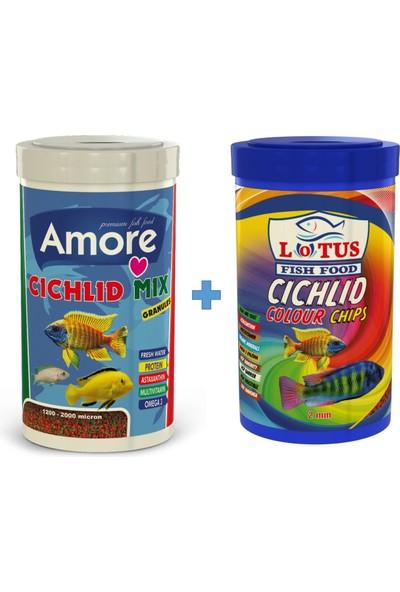 Amore Cichlid Mix Granules 1000ML + Lotus Malawi Ciklet Colour 1000ML Kutu Balık Yemi