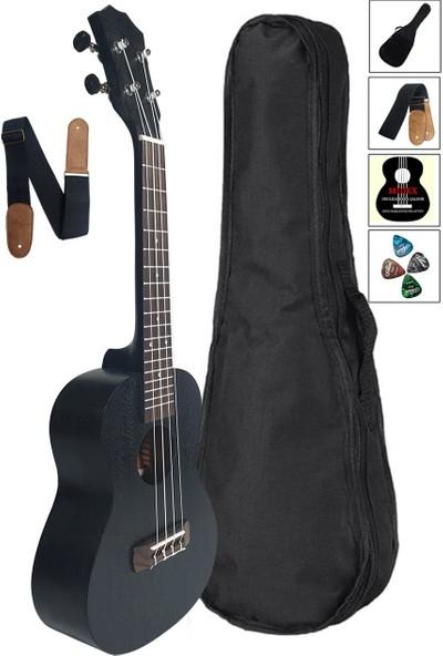 Midex SP-21 BK Set Maun Siyah Soprano Ukulele Gül Klavye (Çanta Metod Askı Pena)