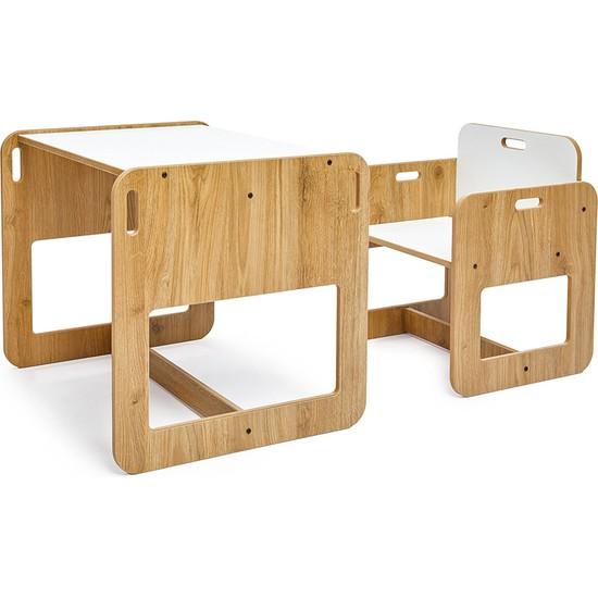Minera 2-4 Yaş Kumru Ahşap Montessori Çocuk Oyun, Çalışma ve Aktivite Masası ve Sandalyesi