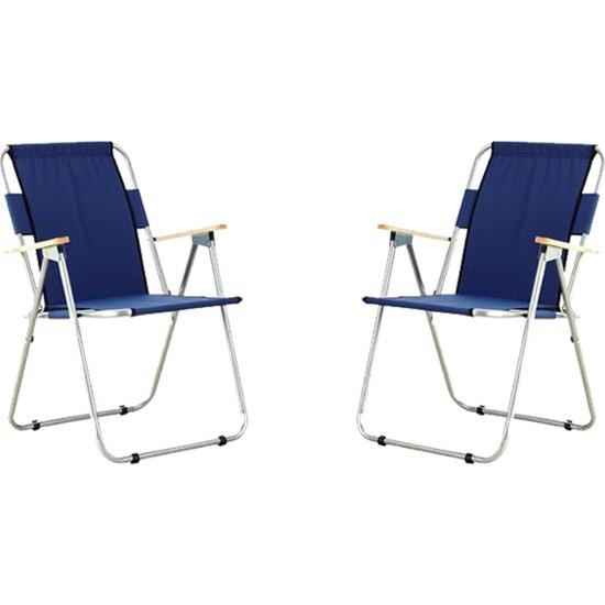 Byeren 2'li Ağaç Kollu Katlanır Plaj, Piknik & Kamp Sandalyesi Seti Lacivert