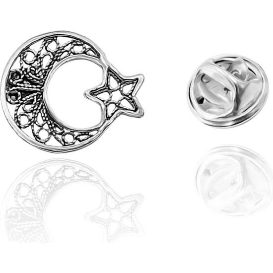 Aykat Ay Yıldız Rozet Gümüş Telkari Broş Yaka Rozeti Bayrak Trz-11