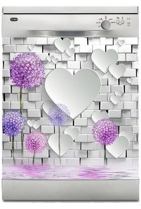 Sticker Art Bulaşık Makinesi Sticker Kaplama Beyaz Eşya Kaplama 3D Kalpler