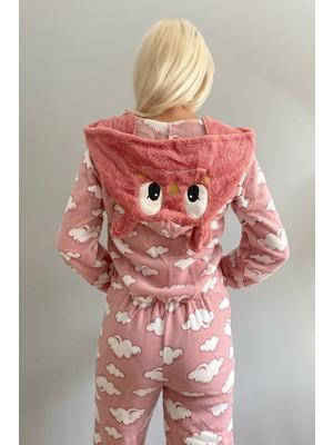 Pijama Evi Bulut Desenli Kadın Polar Peluş Tulum Pijama Takımı S