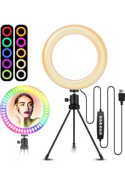 """Elegıant Egl-03 8"""" Tripod Standı Selfie Halka Işık 10 Rgb+Parlaklık Makyaj Canlı Yayın Masaüstü (Yurt Dışından)"""