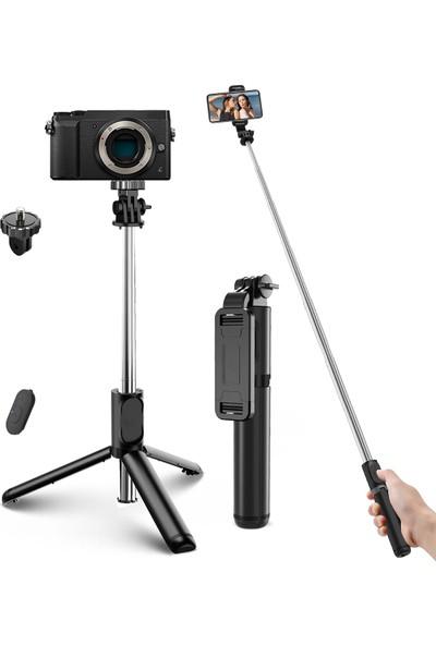 Elegiant Süper Hafif Teleskopik Selfie Çubuğu Bluetooth Uzaktan Tripod Monopod Telefon Tutucu (Yurt Dışından)