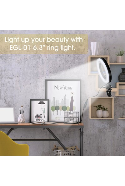 Elegıant LED Halka Işık 6.3 Inç Kısılabilir 3 Işık Modu Kelepçeli Selfie Lambası (Yurt Dışından)
