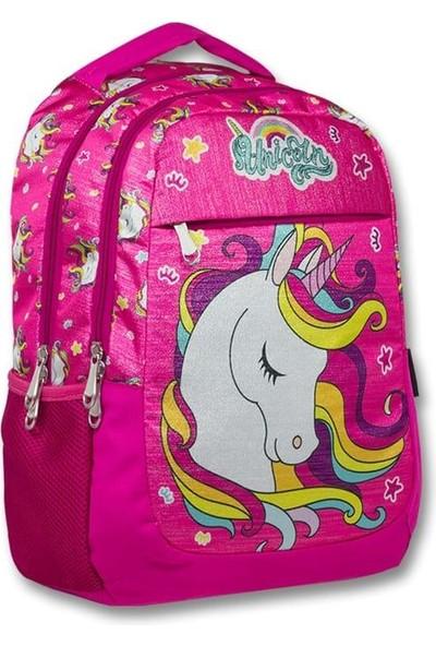 Master Pack Unicorn Simli Pembe Kız Çocuk Okul Çantası - Ilkokul- Ortaokul ve Günlük Sırt Çantası K100