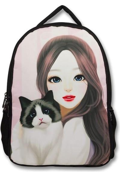 Master Pack Cennec Güzel Bakışlı Kız ve Kedisi Okul ve Günlük Sırt Çantası (Iki Bölmeli)