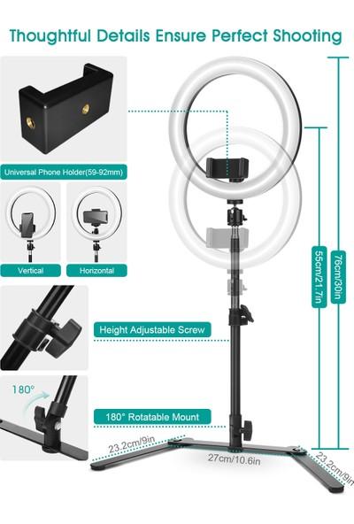 Elegiant 10IN LED Halka Işık Kısılabilir Lamba Tripod Standı Fotoğraf Selfie Telefon Canlı Makyaj (Yurt Dışından)
